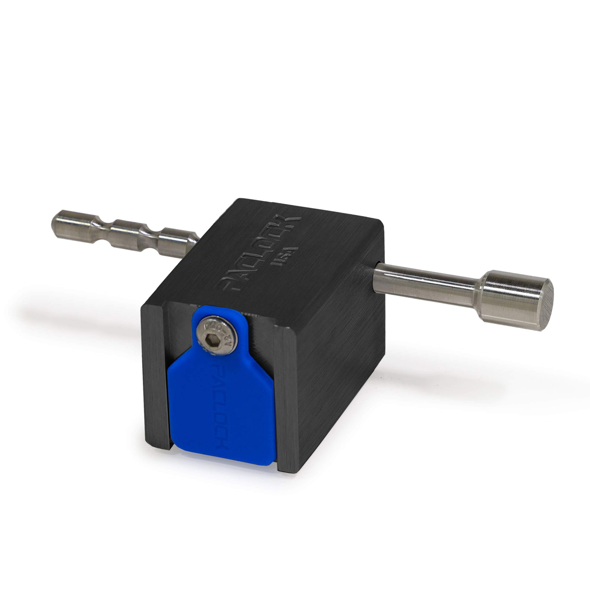 PACLOCK's UCS-79A Universal Trailer Coupler Lock, Buy American Act Compliant, Black Anodized Aluminum, High Security 6-Pin Cylinder, One Lock Keyed to a Number U-Pick! w/ 2 Keys