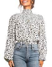 Women Chiffon Blouse Floral Print Shirt Lantern Sleeve High Neck Blouse Shirt Ruched Tops for Women