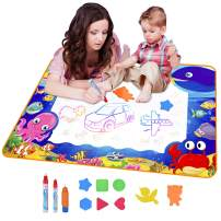 """Water Drawing Mat, Large 40""""x28"""", Aqua Magic Doodle Mat with 11 Accessories Educational Toys Boys Girls Kids Toddlers Age 2 3 4 5 6 7 8 9 10 11 12 Year Old Gifts"""