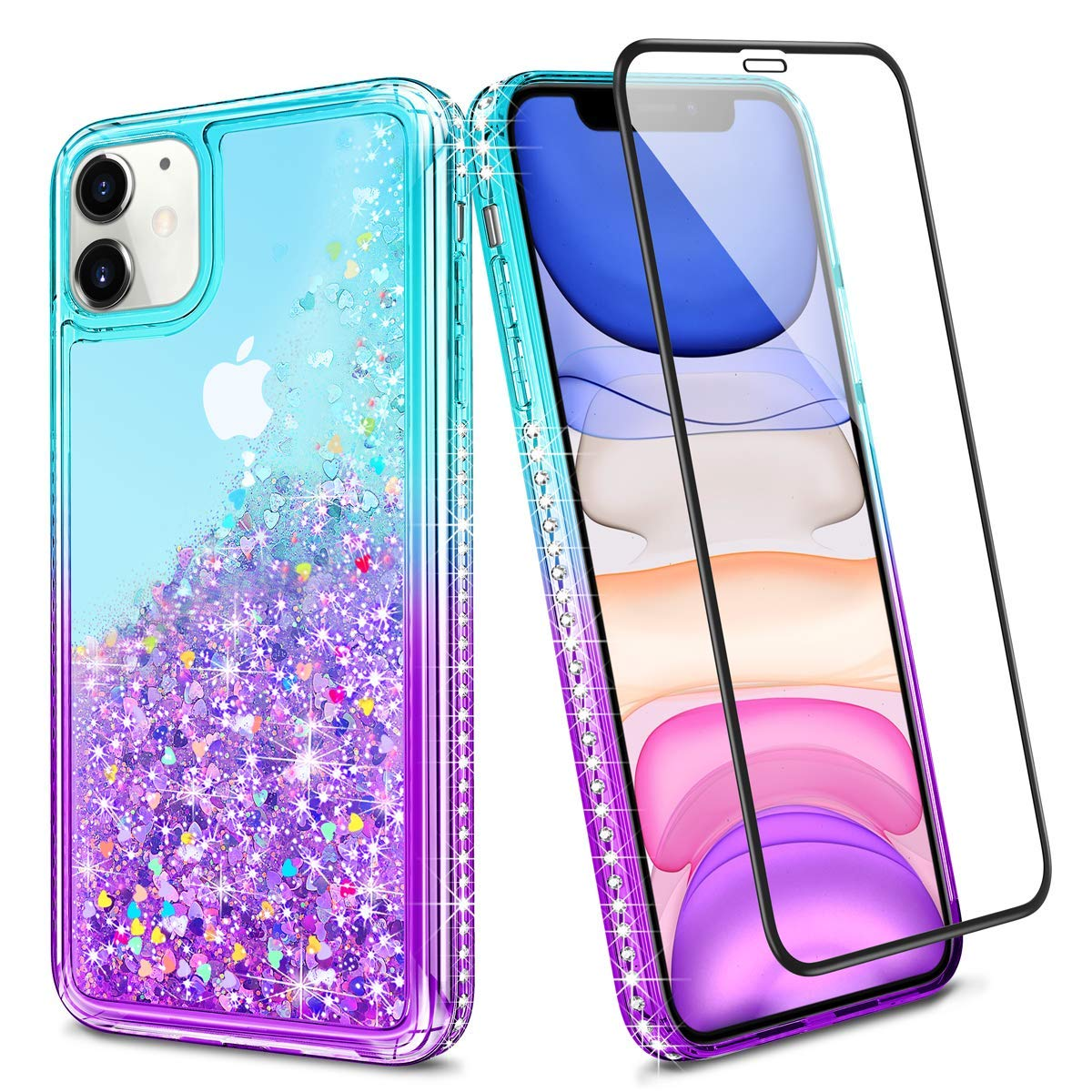 Wollony for iPhone 11 Case Glitter Girly Sparkle Bling Liquid Clear 360 Full Body Protection Cover with Screen Protector Slim Durable Hybrid Shockproof Diamond Case for iPhone 11 6.1inch Lake-Purple