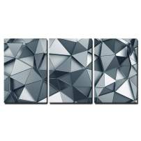 """wall26 - Abstract 3D Metal Background - Canvas Art Wall Decor - 16""""x24""""x3 Panels"""