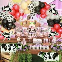 130 pcs Farm Party Decorations Balloon Garland, Animals Creatures Theme Balloons Arch- Cow Print Balloons,White Black Red Balloons, Animal Walking Balloons for Baby Shower Kid's Birthday Supplies