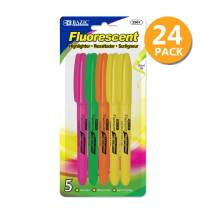 BAZIC Pen Style Fluorescent Highlighter w/Pocket Clip (5/Pack), 24-Pack