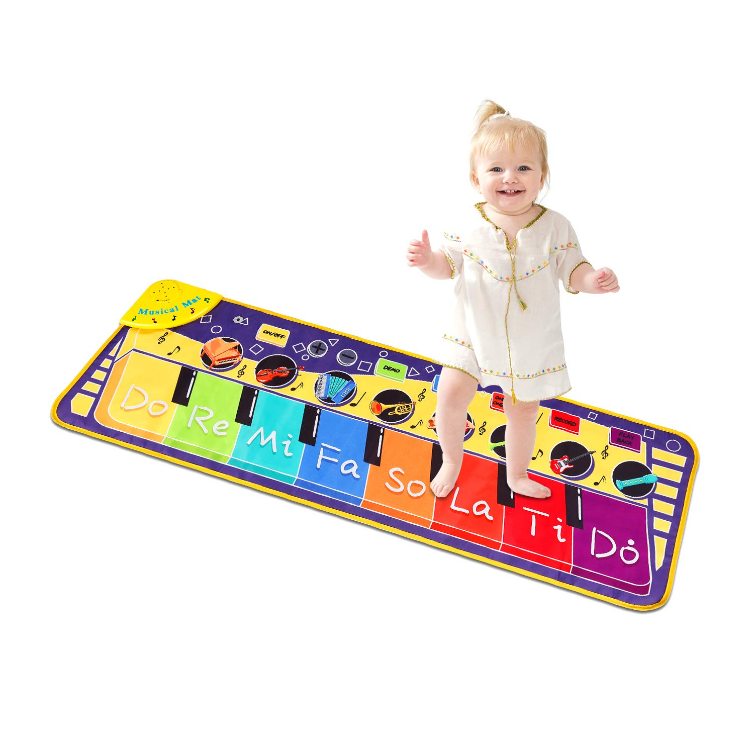 M SANMERSEN Piano Mat for Kids, Keyboard Musical Mat with 8 Demos/ 8 Instrument Sounds/ Record & Playback Function Touch Play Music Mat Toy Gifts for Boys Girls