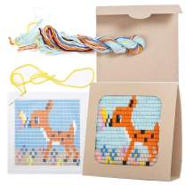 """Sozo - Colorful DIY Needlepoint Embroidery Craft Kit for Beginners. Eco Friendly Package That Turns into a Display Frame, Easier Than Cross Stitch. Size - 8"""" x 8"""" (Fawn)"""