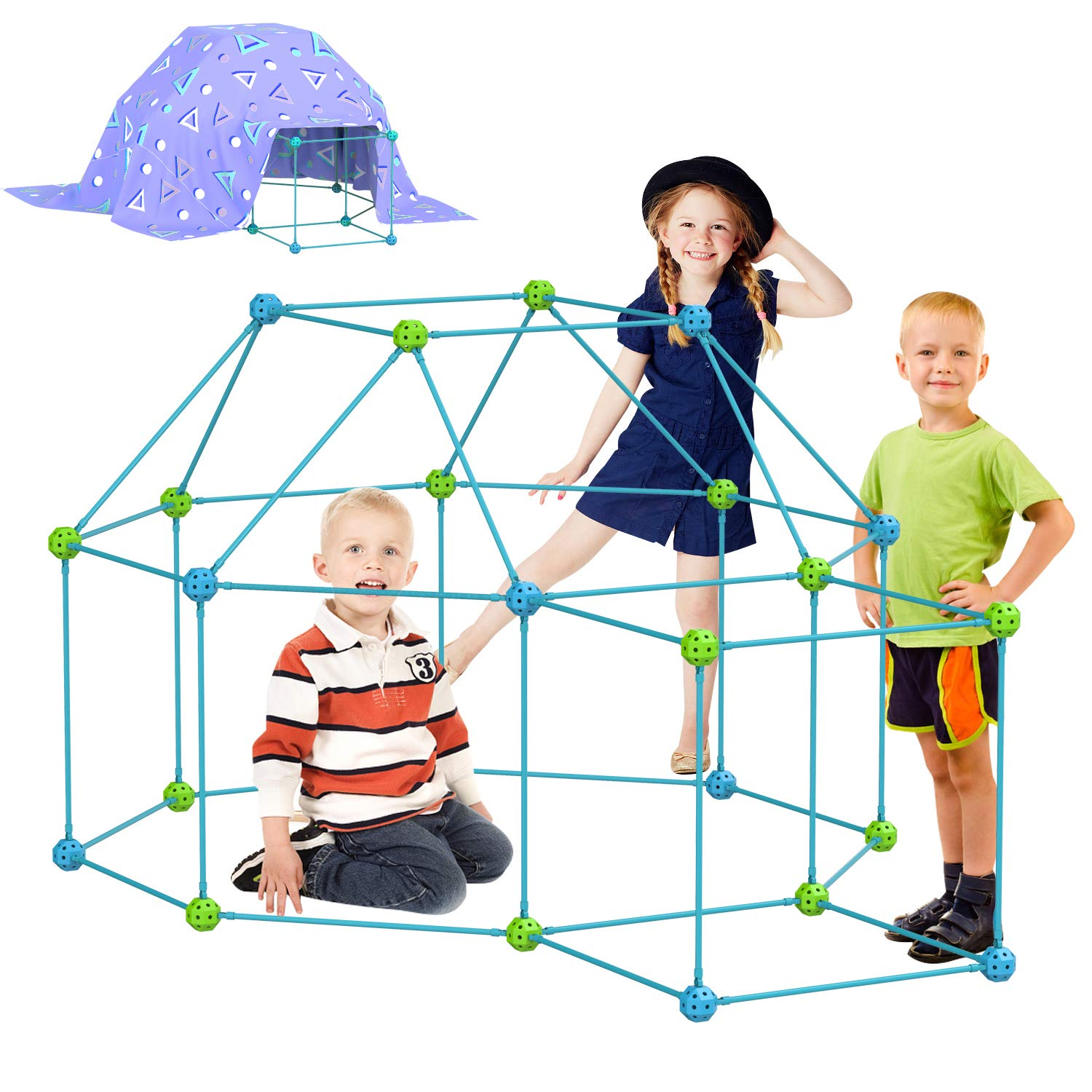 INFUN 120 Pieces Kids Fort Building Kit, Crazy Construction Building Toy for Boys and Girls,STEM Fort Building Set Play Castles Tunnels Play Tent Rocket Tower Outdoor and Indoor