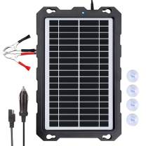 POWOXI-9W-Solar-Battery-Trickle-Charger-Maintainer -12V Portable Waterproof Solar Panel Trickle Charging Kit for Car, Motorcycle, Boat, Marine, RV, Trailer, Powersports, Snowmobile, etc.