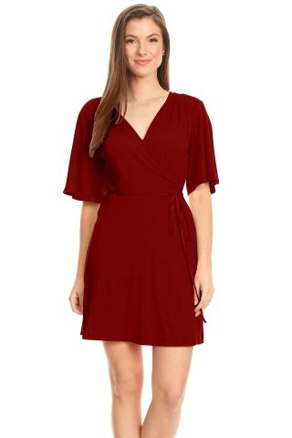 Women's Wrap Dress Flared Sleeve Reg and Plus Size Wrap Dress with Tie Belt - USA
