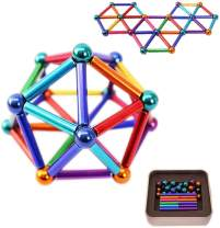 RQW Magnetic Building Blocks Set 63PCS Rare Earth Sculpture Creative Gadget Desk Decoration Stress Relief Coolest Gift (Multicolored)