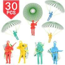 PROLOSO Vinyl Paratroopers Plastic Warrior Figures Mini Parachute Men Airborne Action Figures Party Favors Outside Toys Assortment 30 Pack