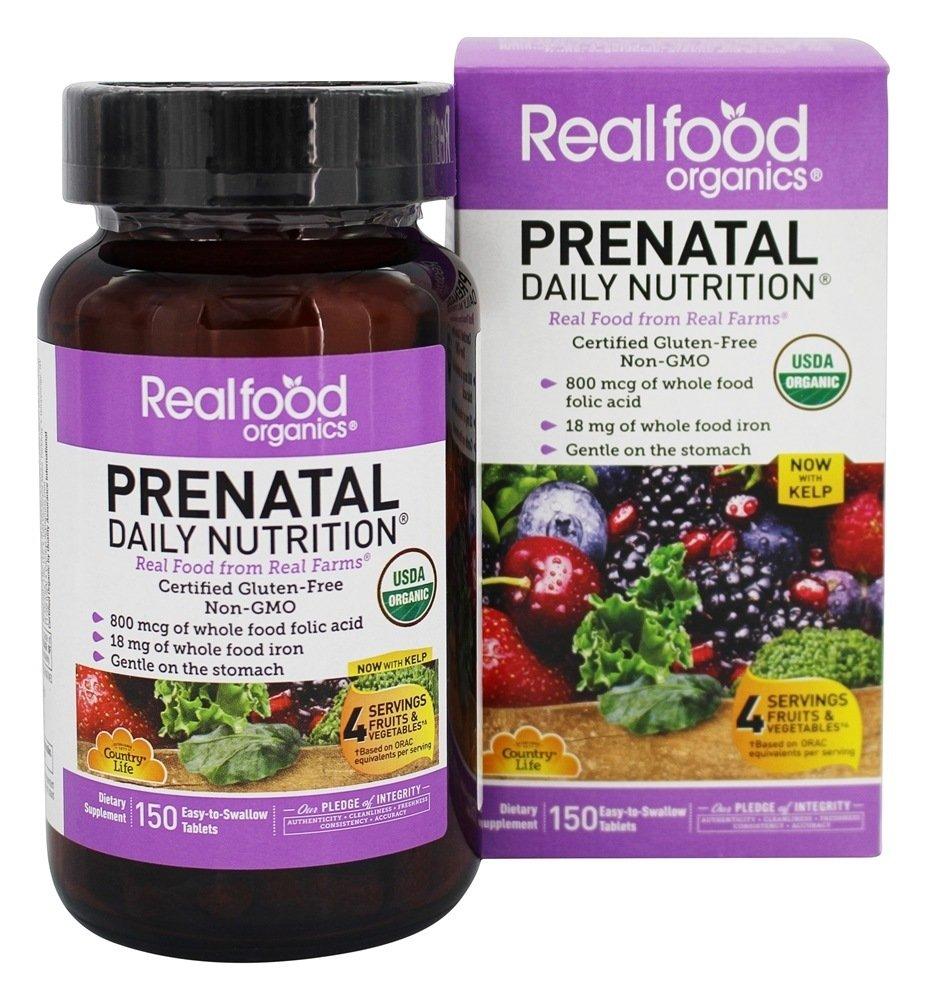 Country Life Vitamins, Prenatal, Organic, Fermented Wholefood, Non-GMO, Gluten Free, 150 Count