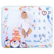 "InnoBeta Baby Monthly Milestone Blanket   Flannel Fleece Plush Newborn Infant Photo Blanket   for Pictures Photography for Newborn Boys & Girls New Mom Gifts Penguin(White, 39""x 47"")"