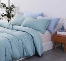 PHF Washed Cotton Duvet Cover Set Bedding Home Decoration Soft Cozy Solid Breathable for Fall Winter (Queen, Blue)
