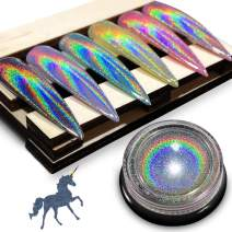 Chrome Nail Powder by iMethod - Holographic Nail powder, Chrome Powder for Nails, Holo Nail Powder, Rainbow Unicorn Mirror Effect, Multi Chrome Manicure Pigment, 0.04oz/1g