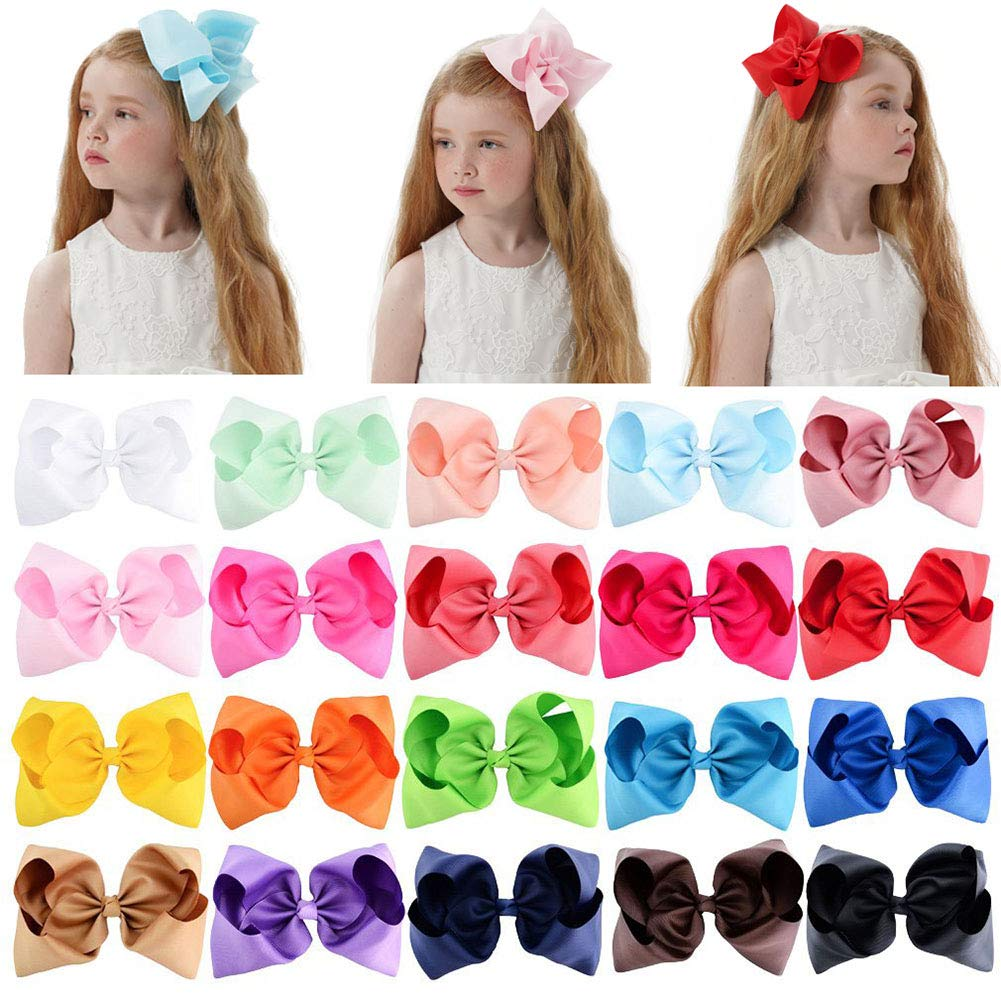 Baby Girls Toddler Hair Bows with Alligator Clip Grosgrain Barrettes Bundles Accessories for Infant (8 inch, 20Pcs)