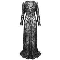 Maternity Deep V-Neck Long Sleeve Lace See-Through Maxi Dress Beach Photo Shoot Party Baby Shower Gown