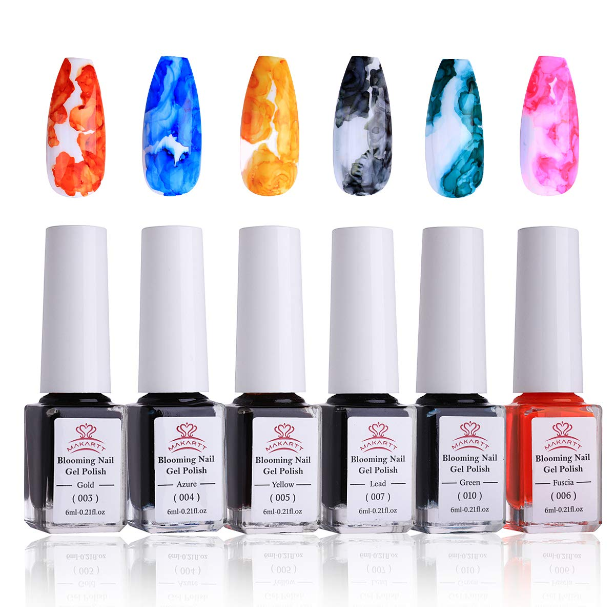 Makartt Blooming Nail Polish Alcohol Ink Watercolor Pink Blossom Gel Nail Polish Magic Manicuring Kit Work With Transparent Red Marble Nail Vanish Young Nail Art Design Summer 6 Colors Set