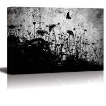 wall26 Beautiful Black and White Canvas of a Field and Butterfly - Canvas Art Home Decor - 16x24 inches