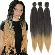 Befunny 8Pieces/Lot 16Inch Crochet Hair Ombre Short Pre Stretched Braiding Hair Professional Easy Braid Synthetic Hair For Braids/Twist Itchy Free Yaki Straight Hair Dip in Hot Water Set T1B/27#
