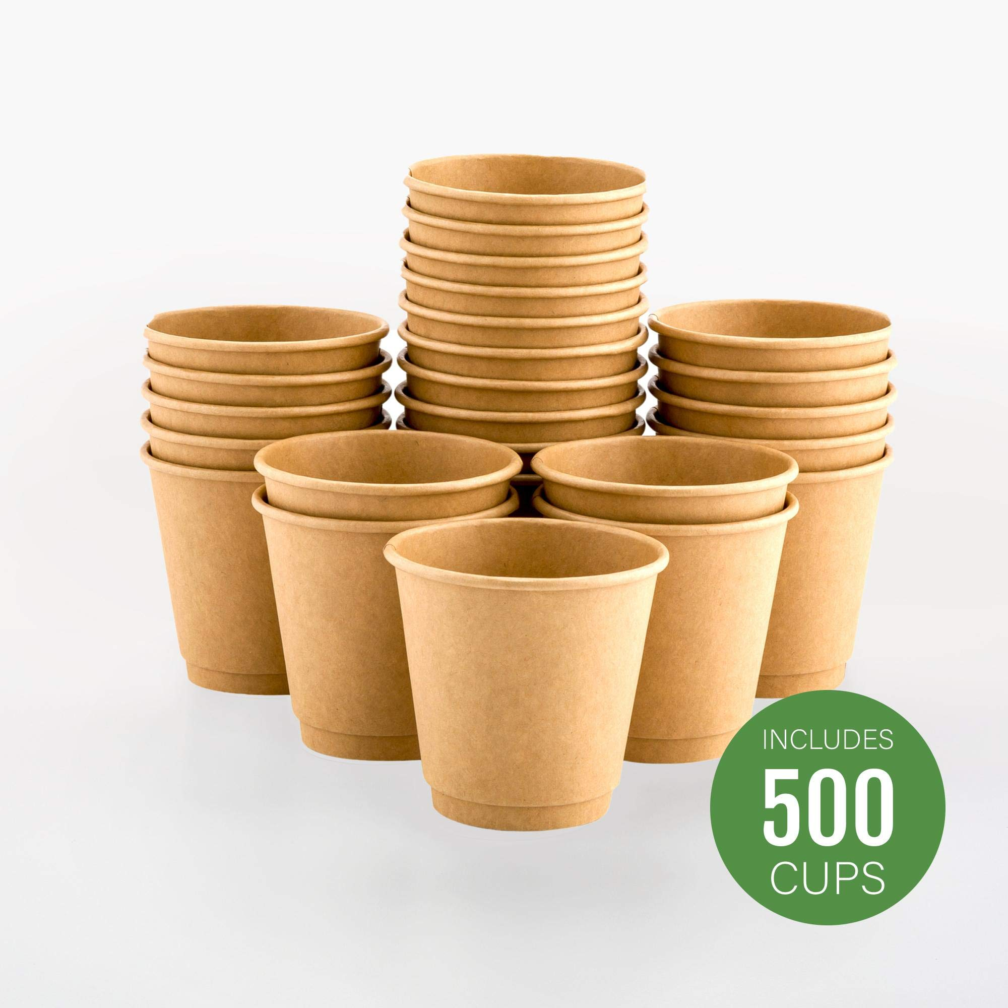 500-CT Disposable Kraft 8-oz Hot Beverage Cups with Double Wall Design: No Need for Sleeves - Perfect for Cafes - Eco Friendly Recyclable Paper - Insulated - Wholesale Takeout Coffee Cup