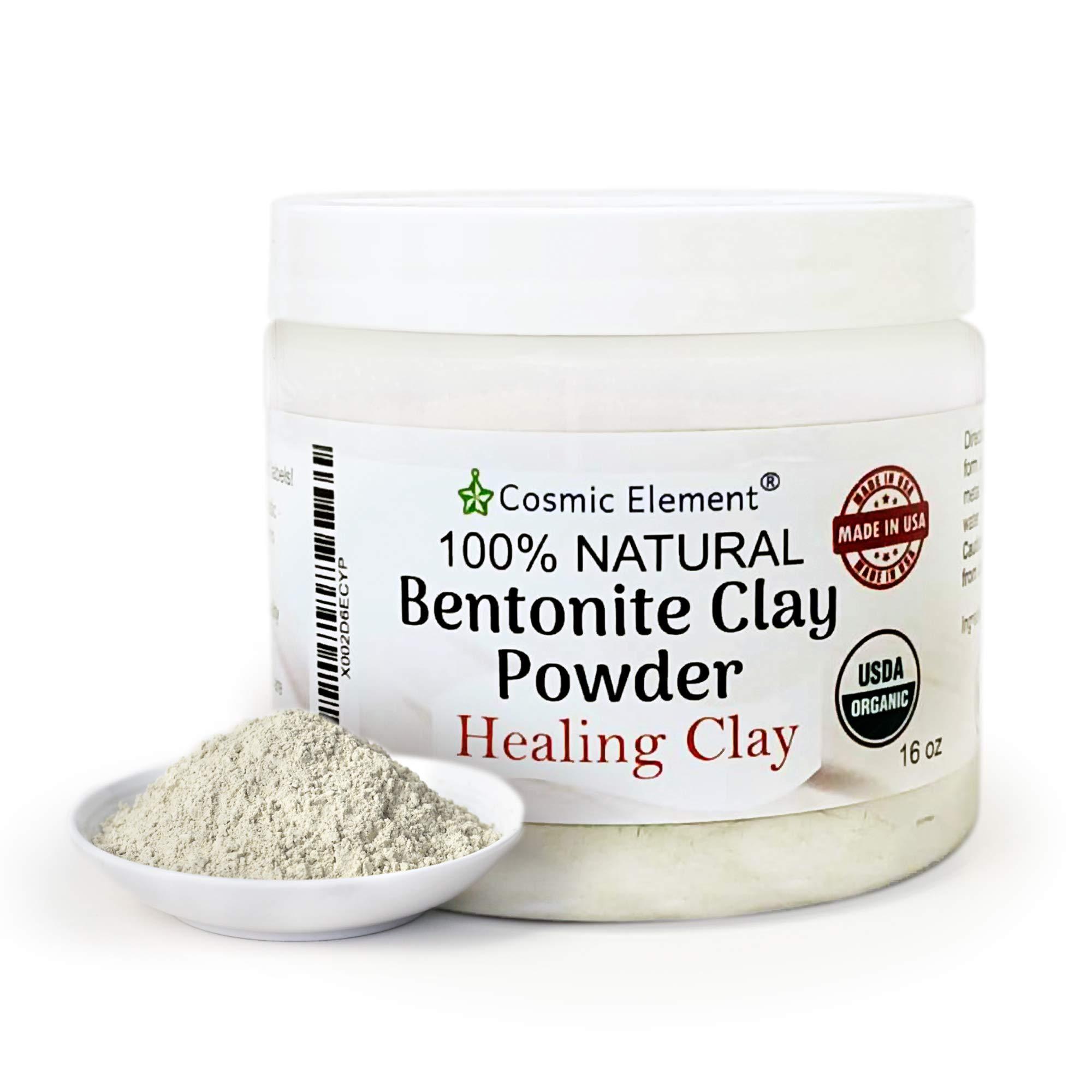 Cosmic Element Bentonite Clay Powder 100% Pure & Unrefined 1 lbs/16 Ounce Premium Calcium Bentonite Clay - Heavy Metal Detox and Cleanse