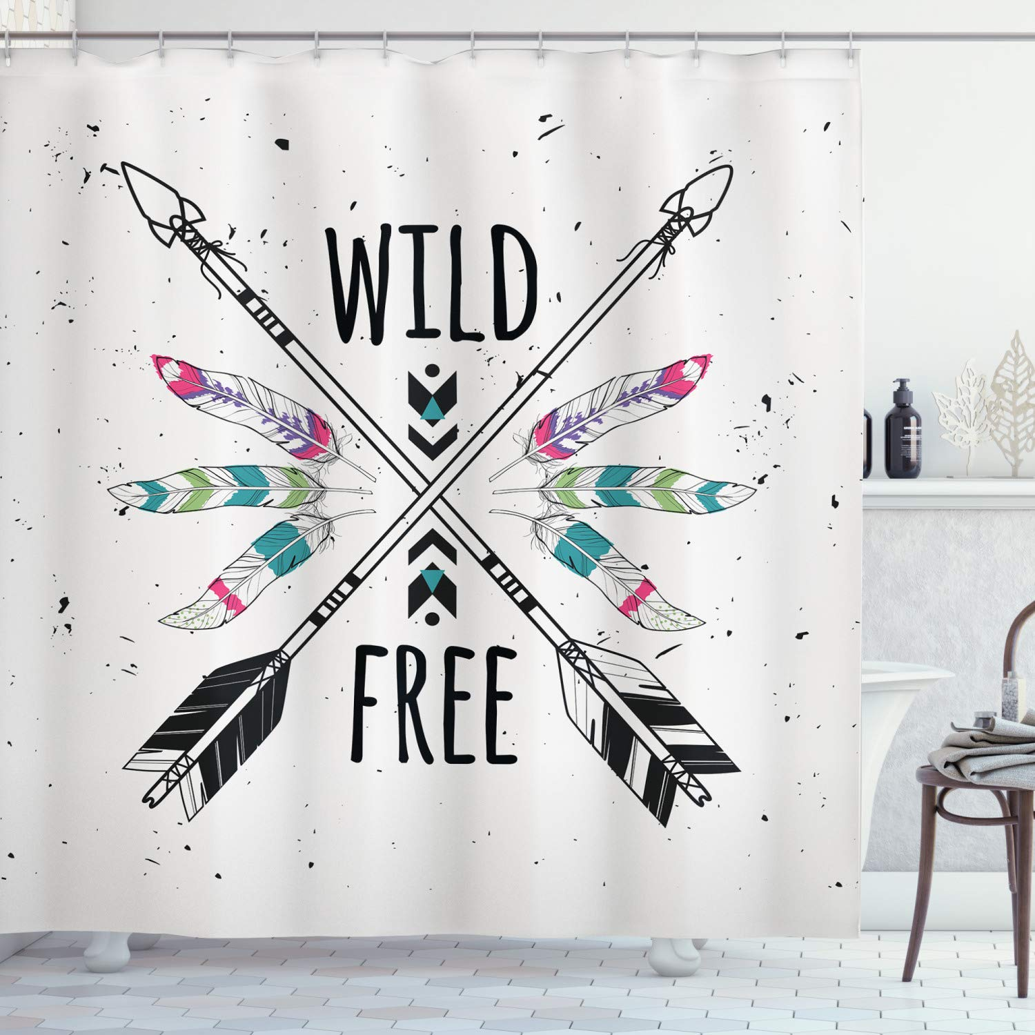 """Ambesonne Tribal Shower Curtain, Crossed Arrows with Wild and Free Motivation Words Primitive Illustration, Cloth Fabric Bathroom Decor Set with Hooks, 75"""" Long, Black Teal"""