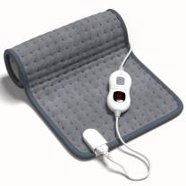 Electric Heating Pad for Back Pain - Large, 12x24 Inch, Gray - for Neck, Shoulders, Lower Back - 3 Heat Levels, 4 Timer Settings, Thermostatic Control and Auto Shut Off - 9.5 Feet Cord
