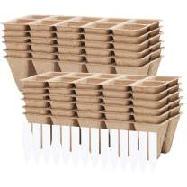 URATOT 12 Pack Peat Pots Kits Seed Starter Eco-Friendly Enhance Aeration with Plant Tags for Home Plant Starters