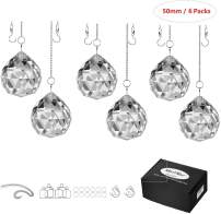 """MerryNine Clear Crystal Ball Prism Suncatcher Rainbow Pendants Maker, Hanging Crystals Prisms for Windows, for Feng Shui, for Gift(50mm/2.0"""" 6pack)"""