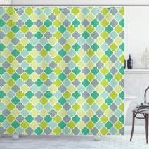 """Ambesonne Teal Shower Curtain, Traditional Moroccan Cultural Pattern Trellis Quatrefoil Motif in Vibrant Colors Retro, Cloth Fabric Bathroom Decor Set with Hooks, 75"""" Long, Green Seafoam"""