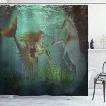 "Ambesonne Mermaid Shower Curtain, Mermaid Meets Seahorse Underwater World Fantasy Fairytale Design, Cloth Fabric Bathroom Decor Set with Hooks, 70"" Long, Green Aqua"