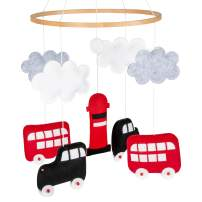 Baby Crib Mobile for Boys and Girls, with London-Themed Plush Ornaments - Handmade, Colorful Nursery Mobiles, Unisex, with Buses, Taxi Cabs – Non-Toxic, Premium Nursery Decorations