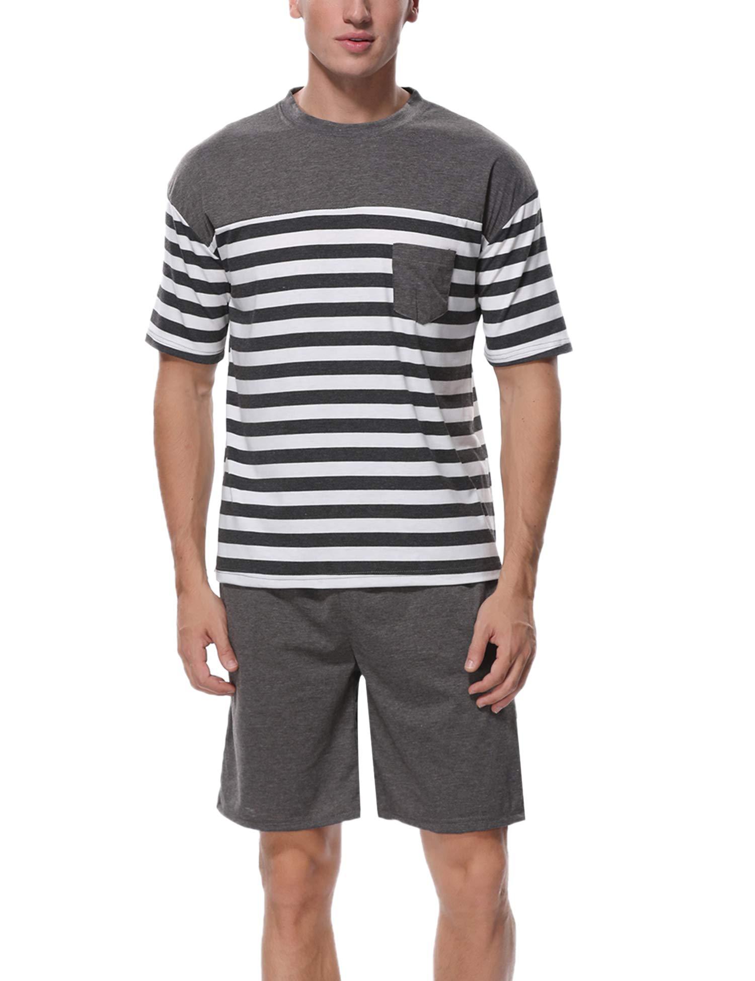 Aiboria Men's Short Pajama Set Cotton Summer Sleepwear Soft Striped Tops and Solid Color Shorts Lounge Set