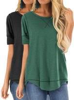 Grace's Secret Women's Shirt 2-Pack Set Summer Tops for Women Casual Short-Sleeve Side Split Tunic Top Shirts