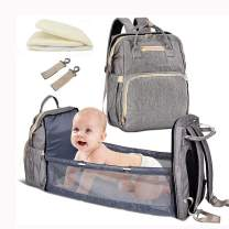 4-in-1 Travel Baby bassinets Foldable Baby Bed - Portable Diaper Changing Station Mummy Bag Backpack, Upgrade Baby Diaper Bag, Portable Baby Bed, Travel Crib Infant Sleeper, Baby Nest with Mattress