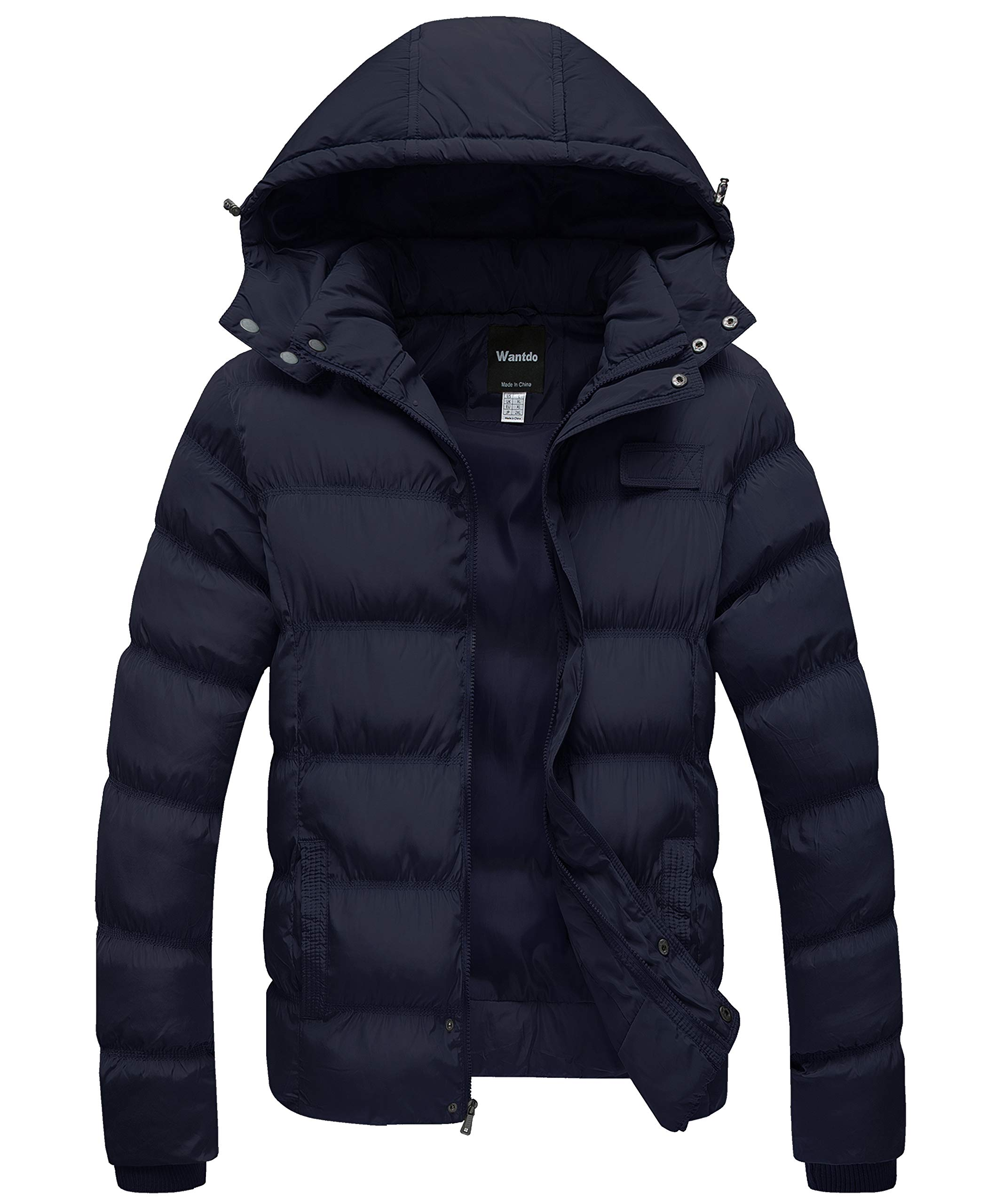 Wantdo Men's Winter Thicken Cotton Coat Warm Puffer Jacket with Removable Hood