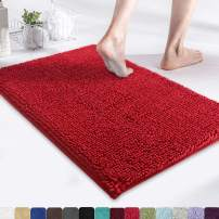 """MAYSHINE Chenille Bath Mat for Bathroom Rugs 24"""" x17"""", Extra Soft and Absorbent Microfiber Shag Rug, Machine Wash Dry- Perfect Plush Carpet Mats for Tub, Shower, and Room- Red"""