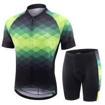 BALEAF Men's Cycling Jersey Set Biking Shorts Padded Bike Clothes Outfit Bicycle Short Sleeve MTB Road Bike