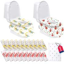Disposable Toilet Seat Covers Extra Large 20 Packs (10 Christmas Design & 10 Kangaroo) Perfect for Adults and Kids Potty Training with Individually Wrapped (Bear)