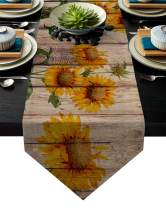 FAMILYDECOR Linen Burlap Table Runner Dresser Scarves, Sunflower on Rustic Wood Plank Country Theme Kitchen Table Runners for Dinner Holiday Parties, Wedding, Events, Decor - 13 x 70 Inch