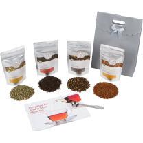 Golden Moon Tea - Tea Gift Set | 100% USDA Organic Loose Tea Sampler Set | Robust Smooth Taste, No Bitterness! 48 Servings in 4 Popular All Natural Flavors | Plus Free Perfect Portion Teaspoon