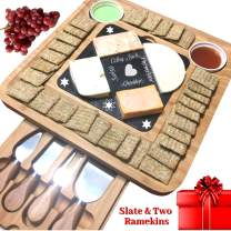 iBambooMart Slate Cheese Board Set w/Cutlery Set, 2 Bowl, Soap Stone Chalk, Bamboo Charcuterie Platter Wood Board, Perfect gift for Christmas, Mom, Mothers, Women, Men Housewarming, Wedding, Birthday
