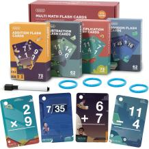 beiens Multi Math Flash Cards, 270 Addition, Subtraction, Multiplication, Division Cards, All Facts 0-12 with 1 Erase Pen 4 Rings, Math Games Set for Kids Age 6+ 3rd 4th 5th 6th Grade
