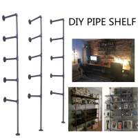 Topower Industrial French Country Style Decorative Pipe Wooden Wall ShelvesRustic DIYCeiling Pipe Shelf Wall Vintage Hung Bracket Industrial Shelves Five-Layer × 3
