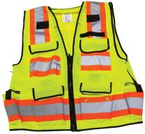 """Ironwear 1278FR-L-06-3XL ANSI Class 2 Flame Retardant Polyester Surveyor SAFETY Vest with 2"""" Silver Reflective Tape, Lime, 3X-Large"""