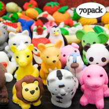LanMa 70PCS Cute Pencil Erasers Animals Food Puzzle Erasers for Kids Classroom Prizes Party Favors Novelty Toys Children's Day Gifts