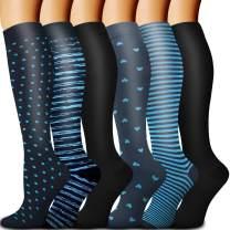 Copper Compression Socks Women & Men Circulation(6 pairs) - Best for Running, Nursing, Hiking, Recovery & Flight Socks