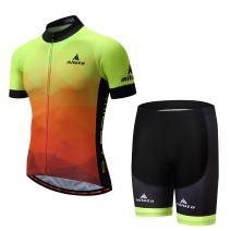 Vgowater Men's Cycling Jersey Set Short Sleeve Road Bike Shirt Quick Dry Biking Shorts (Gradient, XL)