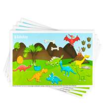 """Disposable Placemats Stick-on for Baby & Kids Table Topper Disposable, Toddler Placemats in Reusable Pouch 40 Pack 12"""" x 18"""", Dinosaurs Sticky Place Mats, BPA Free Plastic Keep Dirt Away"""