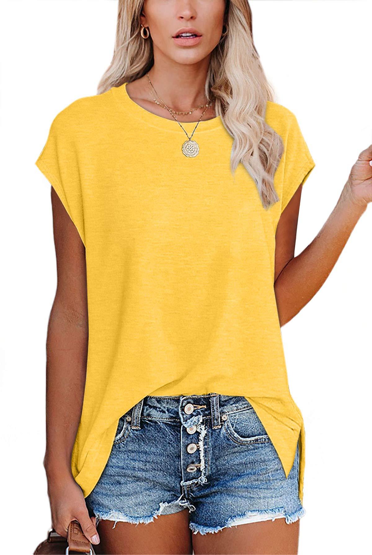 SAMPEEL Women's Short Sleeve Crew Neck Basic T Shirts Side Slit Tops